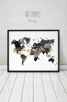 Navy blue world map poster oh the places youll go nursery decor dr black and white world map map art print large world map poster travel gift not all who wander are lost faux gold text artprintsvicky gumiabroncs Choice Image