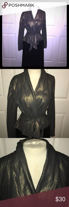 Sexy Gold and Navy Shiny Belted Jacket Shawl collar with attached tie belt. Linen/rayon blend. NWOT. Fitted jacket with button sleeves. Size m/L Jackets & Coats Blazers