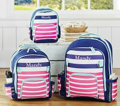Fairfax Pink Striped Backpacks | Pottery Barn Kids