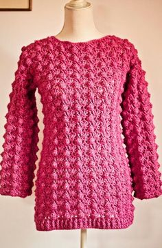 (4) Name: 'Crocheting : Ladies Popcorn Sweater