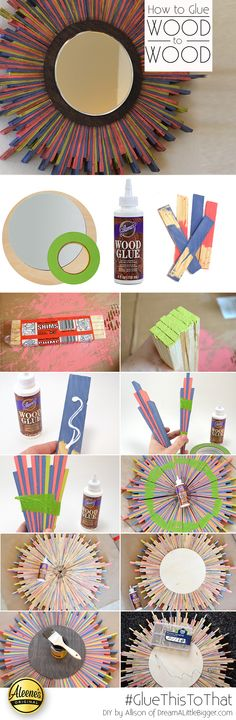 Make this wood shim mirror using Aleene's Wood Glue and shims from the hardware store. DIY project by @allisongm