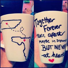 DIY long-distance mugs. Draw on with Sharpie, bake for 30min at 350 degrees. I know just who to make this for ;)