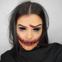 SPEAK NO EVIL✖️ 31 Days Of Halloween, Halloween Makeup Looks, Halloween Town, Scary Halloween, Evil Makeup, Zombie Makeup, Sfx Makeup, Haloween Ideas, Monster Makeup