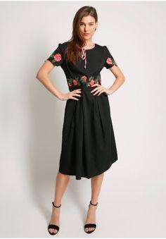 Moments Pass Floral Applique Dress  at shopruche.com