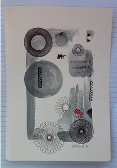 spirograph red black grey . watercolor illustration. by SapoConcho
