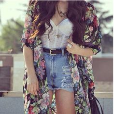 High waist shorts, kimono cardigan, & corset top, wearing this look all summer long