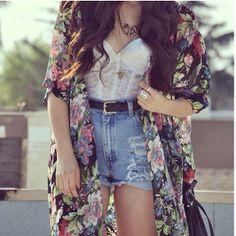 High waist shorts, kimono cardigan, & corset top, wearing this look all summer long