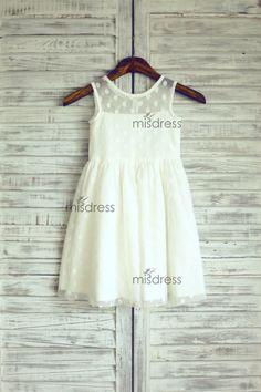 Sheer Neckline Polka Dots Tulle Flower Girl Dress by misdress, etsy $43