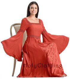 Arwen Square Neck Renaissance Medieval Princess Gown Dress - Dresses