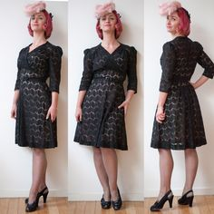 [EvaDress Patterns] 1940s reproduction dress in black cotton lace. Worn with vintage hat shoes & stockings :) #sewing #crafts #handmade #quilting #fabric #vintage #DIY #craft #knitting