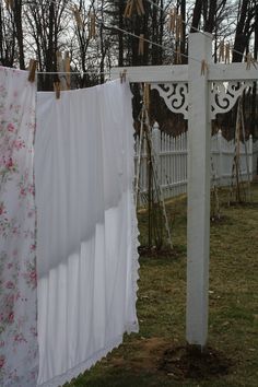 Shabby Chic clothesline in my backyard (shabby chic decor outdoors)