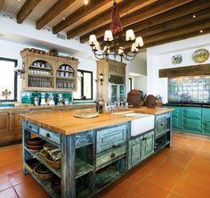 Una cocina grande con azulejos...