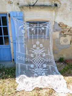 1900/1930 French crochet filet  curtain white by petitbrocante,