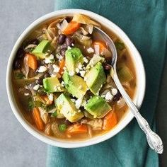Mexican Cabbage Soup - Based on a popular weight-loss plan, this healthy cabbage soup recipe gets tons of flavor and a metabolism-boosting kick from spicy chiles. Healthy Soup Recipes, Mexican Food Recipes, Diet Recipes, Cooking Recipes, Healthy Meals, Vegan Recipes, Vegan Cabbage Recipes, Paleo Soup, Mexican Cooking