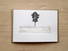 Christmas Card Rustic Folded Card with Linocut Oak Leaf and Gold Glitter, Kraft Envelope on Etsy