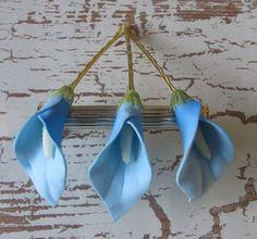 Light Blue Calla Lilies flowers SET OF 3 bobby pins -hair clips - Weddings