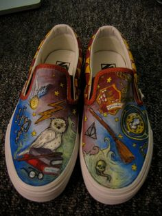 5ede60ccdd Custom Harry Potter Painted Shoes Harry Potter Shoes