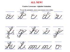 http://www.newamericancursive.com/alphabet.htm   Teaching cursive is not a Common Core Standard, but our school district chose to keep it...