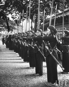 July 1948 - Hoa Hao women troops in training, in French Indo China.