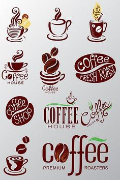 Variety of coffee icon material Elements - Coffee Icon - Ideas of Coffee Icon - Variety of coffee icon material Elements Coffee Icon, Coffee Art, Coffee Line, Coffee Theme, Cafe Logo, Doodle Lettering, Coffee Branding, Typography Logo, Line Icon