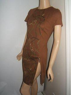 New MICHAEL KORS 4 SEXY ZIPPERS Caramel Brown Gold CHAIN  Knit Womens Dress NWT #MichaelKors http://stores.ebay.com/Designer-Shoes-and-More?_dmd=2&_nkw=michael+kors