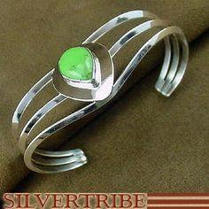Gaspeite Tear Drop Sterling Silver Cuff Bracelet