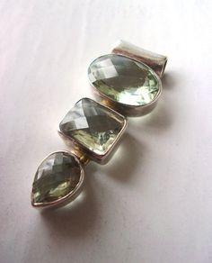 Green Quartz Prasiolite Sterling Silver Pendant, 3 Gemstones, Vintage