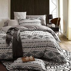 LELVA Indian Style Bedding Bohemian Bedding Duvet Cover Set Flannel Reversible Bedding