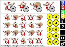 Santa Countit Learn To Count, Christmas Games, Santa, Snoopy, Cartoon, Fun, Cards, Fictional Characters, Maps