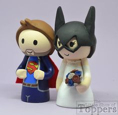 Items similar to Wedding Cake Topper - Superhero Bride & Groom on Etsy Wedding Cake Toppers, Wedding Cakes, Superhero Cake Toppers, Bride Groom, Smurfs, Sonic The Hedgehog, Trending Outfits, Handmade Gifts, Etsy