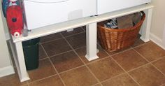 Savvy Chic Home: Easy Washer and Dryer Stand Tutorial. I like that this one rests on the floor rather than having a raised base Washer And Dryer Stand, Washer And Dryer Pedestal, Laundry Stand, Laundry Area, Laundry Rooms, Washing Machine Stand, Blue Yellow Kitchens, Room Tiles, Love Your Home