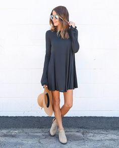 The retro silhouette on our Call It A Day Dress is too cute! The swing style wear and long bell sleeves makes this dress great for dressing up with bold accessories for date night or wear it with glad