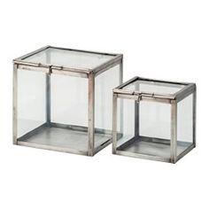 IKEA KOMBINERBAR decoration glass box, set of 2