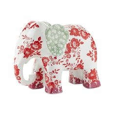 Ashley Thomas at Home White floral elephant money box- at Debenhams.com