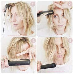 how to crimp short hair with straightener
