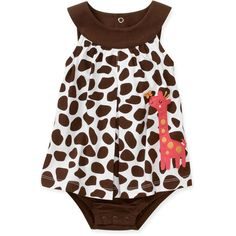 Child of Mine by Carter's - Newborn Girls' Giraffe Sunsuit: Baby Clothing : Walmart.com