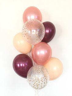 39 Ideas Bridal Shower Brunch Decorations Gold Balloons For 2019 Blush Bridal Showers, Deco Rose, Gold Color Scheme, Color Schemes, Rose Gold Balloons, Confetti Balloons, Giant Balloons, Helium Balloons, Diy Shower