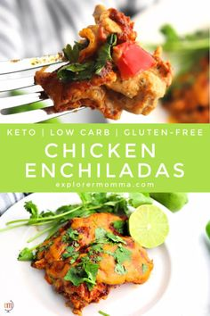 The best keto chicken enchiladas with a creamy spiced chicken on the inside, wrapped in protein tortillas, and baked with sugar-free enchilada sauce and cheddar cheese. #ketodinner #ketoenchiladas Paleo Recipes, Mexican Food Recipes, Real Food Recipes, Ethnic Recipes, Delicious Recipes, Low Carb Enchiladas, Chicken Enchiladas, Chicken Spices, Keto Chicken