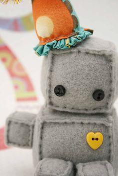 Plush Robot - with a b-day hat! So cute!
