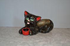 Redware Cat Desk Organizer  Cat Pen Holder  Cat Letter