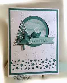 Stamps: Festival of Trees Paper: Soft Sky, Lost Lagoon, Whisper White, All is Calm Specialty DSP Ink: Lost Lagoon Accessories: lost lagoon taffeta ribbon, mini brad, rhinestones Tools: tree punch, Confetti star punch, Big Shot, lucky stars EF, circle punches, dimensionals