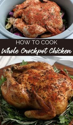 This Crockpot Whole Chicken is a super easy comforting meal, perfect for a lazy Sunday, a busy weeknight or as part of a holiday spread. Lazy Sunday, Super Easy, Crockpot, Yummy Chicken Recipes, Meals, Slow Cooker Recipes, Holiday, Turkey, Cooking