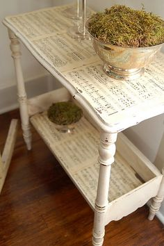 Modge podge of music sheets to furniture by Miss Mustard Seed DIY tutorial.