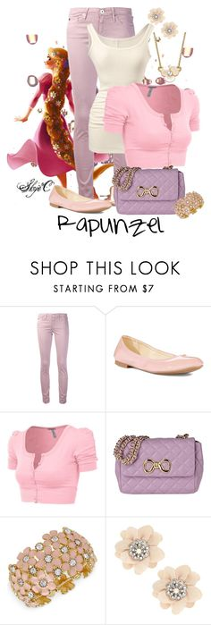 """""""Rapunzel - Disney's Tangled"""" by rubytyra ❤ liked on Polyvore featuring AG Adriano Goldschmied, CAbi, Nine West, J.TOMSON, Moschino Cheap & Chic, Haskell, Red Herring, Kate Spade, disney and rapunzel"""
