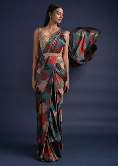 Peacock Green Ready Pleated Saree With Floral Print And Embellished Blouse Online - Kalki Fashion Indian Fashion Dresses, Indian Designer Outfits, Indian Outfits, Saree Fashion, Women's Fashion, Mode Bollywood, Saree With Belt, Indian Bridesmaid Dresses, Indische Sarees