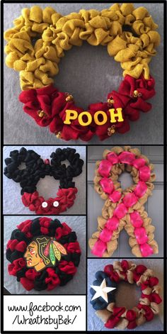 Burlap wreaths for spring, fall, winter, & summer home decor. Holidays, sports, Disney, 4th of July, Mickey Mouse, Winnie the Pooh, Cancer Awareness, Blackhawks, Christmas, Easter, Halloween, Pumpkin, Patriotic, Valentine's Day, snowflakes, snowman, Santa...you name it! Custom requests taken as well. https://www.facebook.com/WreathsbyBek/