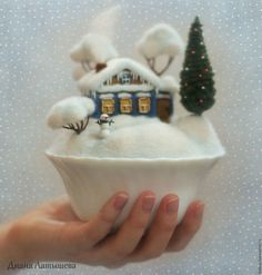 Buy Woolen house Homeland WINTER - house house village homeland small house in the village miniature Felted Wool Crafts, Felt Crafts, Diy And Crafts, Arts And Crafts, Felt Christmas, Christmas Crafts, Felt House, Needle Felting Tutorials, Felt Fairy
