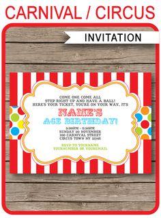 Free carnival invitation printableg summer games pinterest carnival invitation template colorful stopboris Images