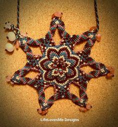 Micro macrame mandala with cinnabar quartz & mangano calcite beads. Made in Lobitos, Peru.  Approx 4.5hrs to make.  AUD99