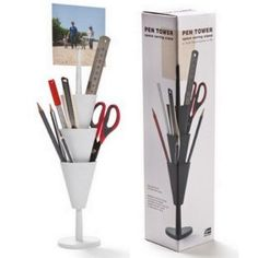 Pen Tower Pencil Holder White Desk Organizer Pen Box (Office Product)  http://www.99homedecors.com/  B004SCUZ8I